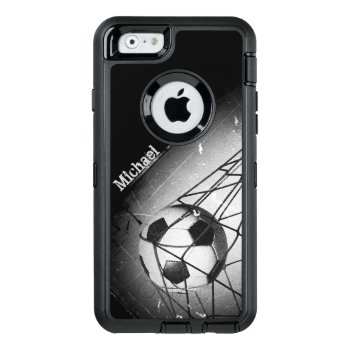 Cool Vintage Grunge Football In Goal Personalized Otterbox Defender Iphone Case by riverme at Zazzle