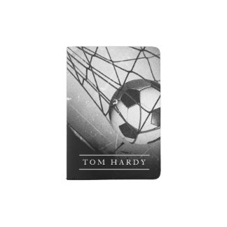Cool Vintage Grunge Football in Goal Personalized Passport Holder