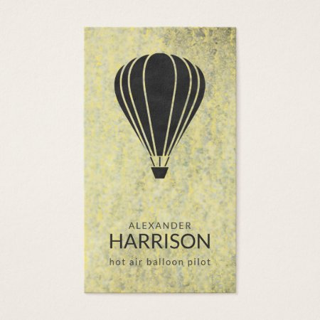 Vintage Black Aviation Hot Air Balloon Pilot Business Cards