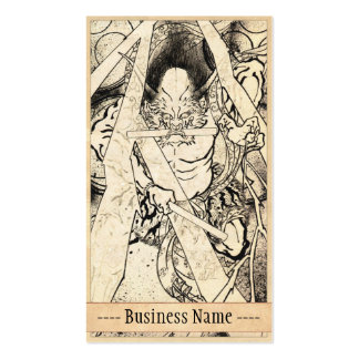 Cool vintage japanese classic demon ink tattoo art business card