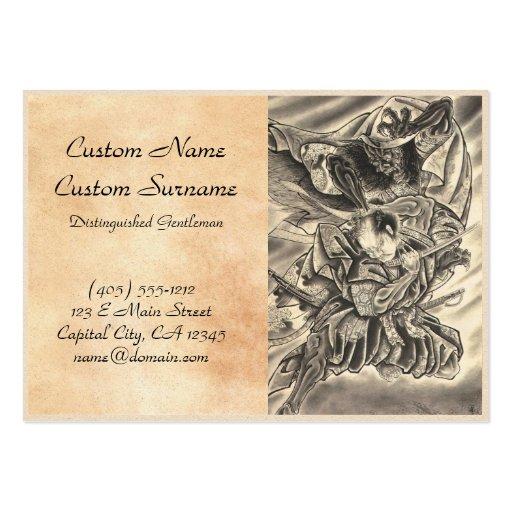 Cool vintage japanese demon samurai fight tattoo business card template