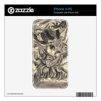 Cool vintage japanese demon samurai fight tattoo iPhone 4S skins