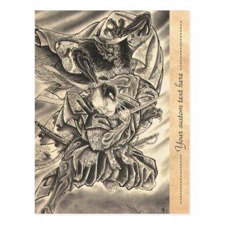 Cool vintage japanese demon samurai fight tattoo postcards