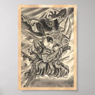 Cool vintage japanese demon samurai fight tattoo poster