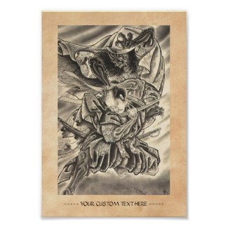 Cool vintage japanese demon samurai fight tattoo posters