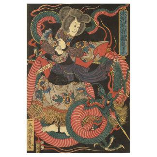 Cool Vintage Japanese Dragon Battle Wood Poster