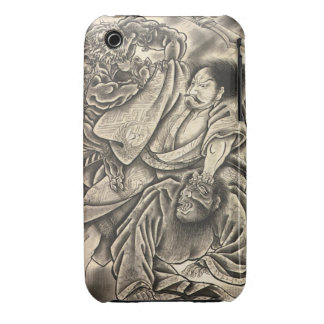 Cool vintage japanese samurai demon fight tattoo iPhone 3 cases
