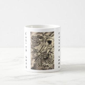 Cool vintage japanese samurai demon fight tattoo coffee mug