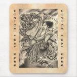 Cool vintage japanese samurai demon fight tattoo mouse pads