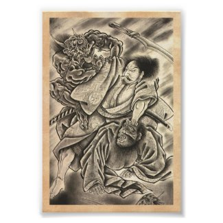 Cool vintage japanese samurai demon fight tattoo posters