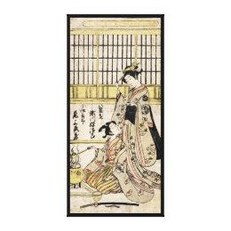 Cool vintage japanese ukiyo-e geisha old scroll canvas print