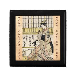 Cool vintage japanese ukiyo-e geisha old scroll keepsake box
