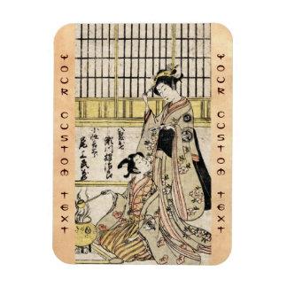 Cool vintage japanese ukiyo-e geisha old scroll magnet