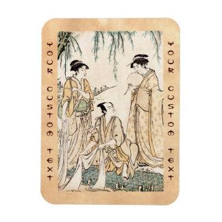 Cool vintage japanese ukiyo-e ladies old scroll magnet