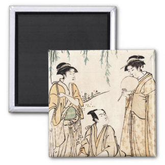 Cool vintage japanese ukiyo-e ladies old scroll 2 inch square magnet