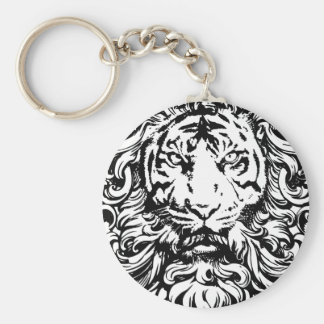 cool vintage king of the jungle tiger design keychain