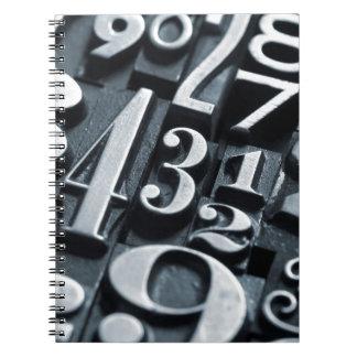 Cool, vintage Letterpress random numbers design Notebook