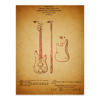 Cool Vintage Looking Famous Bass Guitar Patent Poster