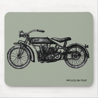 Cool vintage motorcycle ink drawing art mouse pad