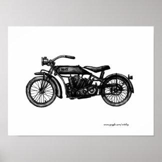 Cool vintage motorcycle ink drawing art poster