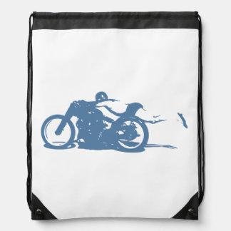 Cool Vintage Motorcycle Rider enjoying Freedom! Drawstring Bag