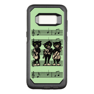 Cool Vintage Musical Black Cats on Music Notes OtterBox Commuter Samsung Galaxy S8 Case