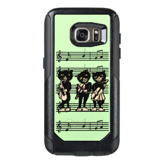 Cool Vintage Musical Black Cats on Music Notes OtterBox Samsung Galaxy S7 Case