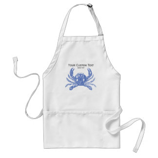 Cool Vintage Nautical Blue Crab Custom Beach Adult Apron