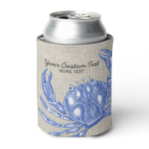 Cool Vintage Nautical Blue Crab Custom Beach Can Cooler
