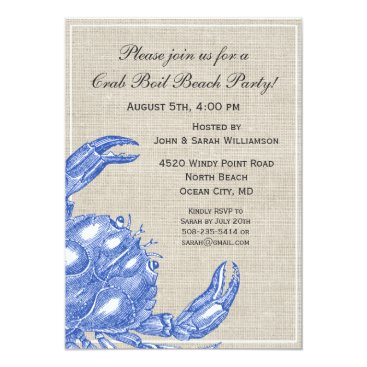Beach Themed Cool Vintage Nautical Blue Crab Custom Beach Card