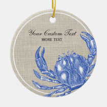Cool Vintage Nautical Blue Crab Custom Beach Ceramic Ornament