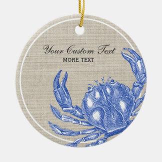 Cool Vintage Nautical Blue Crab Custom Beach Ceramic Ornament