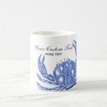 Cool Vintage Nautical Blue Crab Custom Beach Coffee Mug