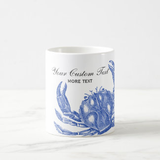 Cool Vintage Nautical Blue Crab Custom Beach Coffee Mug