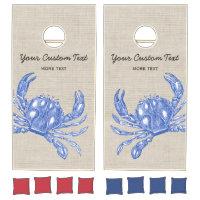 Cool Vintage Nautical Blue Crab Custom Beach Cornhole Set