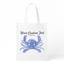 Cool Vintage Nautical Blue Crab Custom Beach Grocery Bag