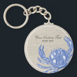 "Cool Vintage Nautical Blue Crab Custom Beach Keychain<br><div class=""desc"">Celebrate the summer, ocean and beach with this nautical vintage blue crab design. A rustic blue crab engraved illustration is set against a tan linen-looking background. Add your custom text - monogram, family name, beach house name, year established, etc - or if you prefer, just delete the text . A...</div>"