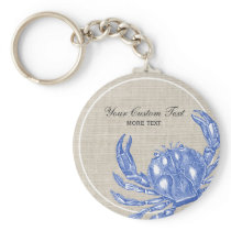 Cool Vintage Nautical Blue Crab Custom Beach Keychain