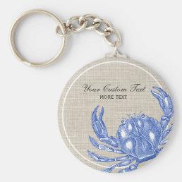 Cool Vintage Nautical Blue Crab Custom Beach Keychain