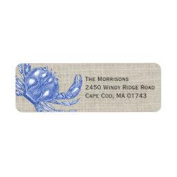 Cool Vintage Nautical Blue Crab Custom Beach Label