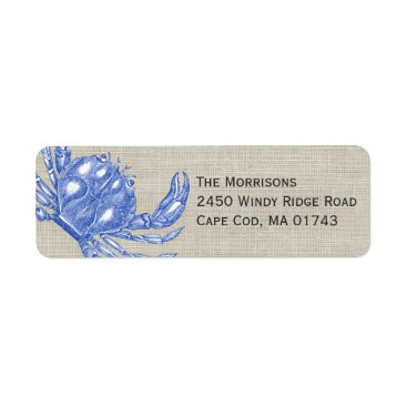 Beach Themed Cool Vintage Nautical Blue Crab Custom Beach Label