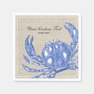 Cool Vintage Nautical Blue Crab Custom Beach Paper Napkin