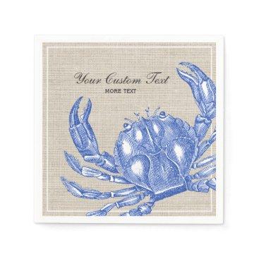 Beach Themed Cool Vintage Nautical Blue Crab Custom Beach Paper Napkin