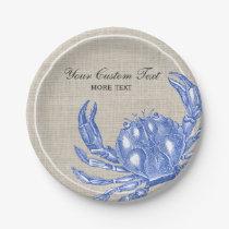 Cool Vintage Nautical Blue Crab Custom Beach Paper Plate