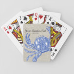 "Cool Vintage Nautical Blue Crab Custom Beach Playing Cards<br><div class=""desc"">Celebrate the summer, ocean and beach with this nautical vintage blue crab design. A rustic blue crab engraved illustration is set against a tan linen-looking background. Add your custom text - monogram, family name, beach house name, year established, etc - or if you prefer, just delete the text . A...</div>"