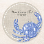 """Cool Vintage Nautical Blue Crab Custom Beach Round Paper Coaster<br><div class=""""desc"""">Celebrate the summer, ocean and beach with this nautical vintage blue crab design. A rustic blue crab engraved illustration is set against a tan linen-looking background. Add your custom text - monogram, family name, beach house name, year established, etc - or if you prefer, just delete the text . A...</div>"""