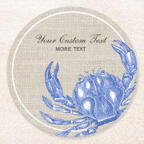 Cool Vintage Nautical Blue Crab Custom Beach Round Paper Coaster