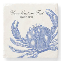 Cool Vintage Nautical Blue Crab Custom Beach Stone Coaster
