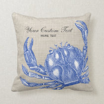 Cool Vintage Nautical Blue Crab Custom Beach Throw Pillow