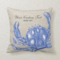 Cool Vintage Nautical Blue Crab Custom Beach Throw Pillow